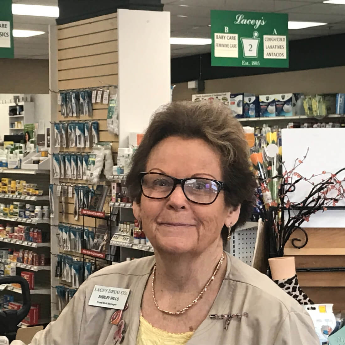 Shirley Wills Is the front-end retail manager at Lacey Drug Company In Acworth, GA.